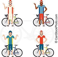 Set of Cyclists