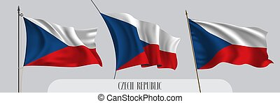 Set of Czech republic waving flag on isolated background vector illustration