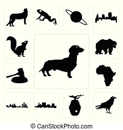 Set of dachshund outline on white background, raven beehive state ohio background icons