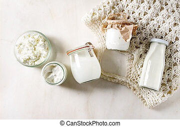 Set of dairy produce - Set of farm dairy produce cottage ...