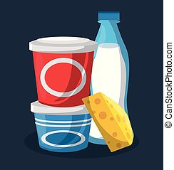 Set of dairy products