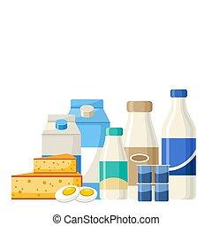Set of dairy products. Milk, yogurt, cheese, cream