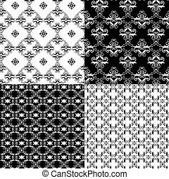 Set of Damask seamless floral pattern