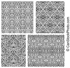 Set of Damask seamless pattern