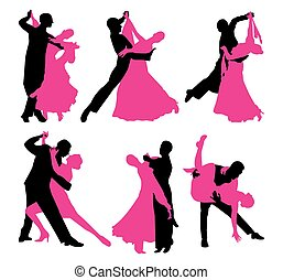 set of dancing couples. black and magenta contour