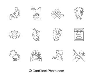 Set of danger of smoking flat line vector icons