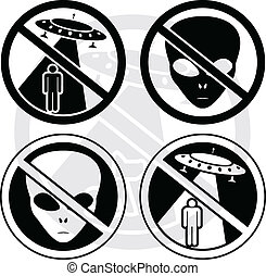 set of danger UFO signs
