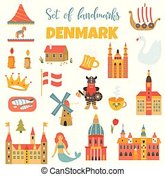 Set of danish landmark, famous places, symbols