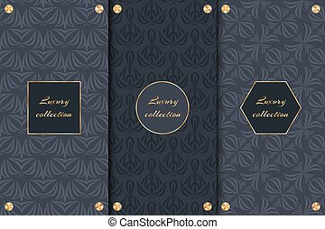 Set of dark backgrounds luxury product - A collection of...