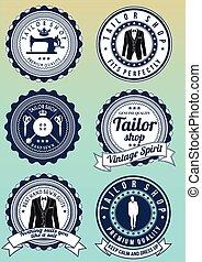 Set of dark blue round badges