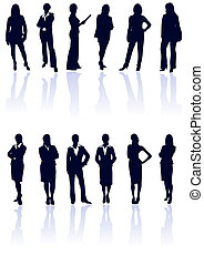 Set of dark blue vector business woman silhouettes with...