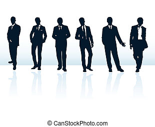 Set of dark blue vector businessman silhouettes in suits. ...