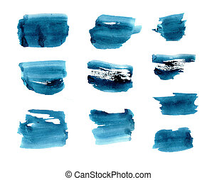 SET of Dark blue watercolor brushstrokes, elements for your TEXT BACKGROUND design