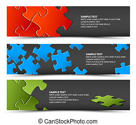 Set of dark puzzle horizontal banners