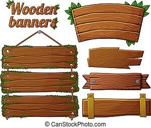 Set of dark wooden banners 2