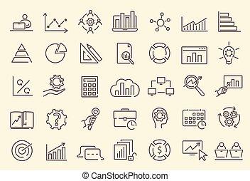 Set of data analysis, statistics, analytics icons - Data ...