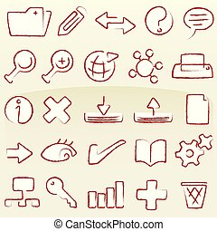 Set of database icons in chalk style.