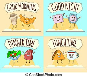 Set of Day Icon. Good Morning, Good Night, Dinner Time, Lunch Time Banner. Cute Character, Concept Label. Cartoon Vector Illustration