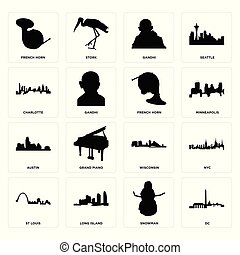 Set of dc, snowman, st louis, wisconsin, austin, french horn, charlotte, gandhi, horn icons