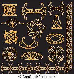 set of decor elements - set of golden decor elements on...