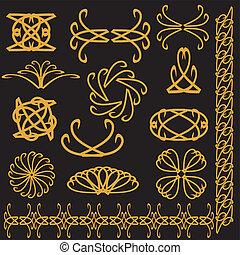 set of decor elements - set of golden decor elements on...
