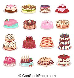 Set of Decorated Cakes Vector in Flat Design