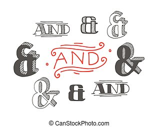 Set of decoration ampersands for letters and invitation