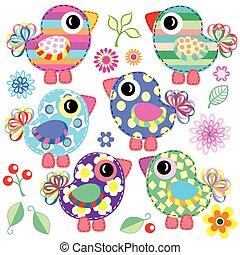 set of decorative birds