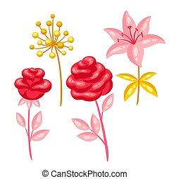 Set of decorative bright flowers.