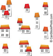 Set of decorative buildings