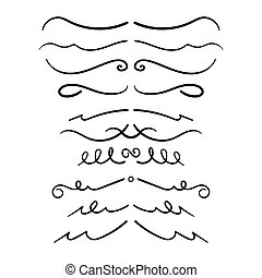 Set Of Decorative Calligraphic Elements For Decoration. Hand drawn lines.