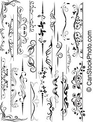 Set of decorative calligraphic elements for editable and...