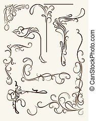 Set of decorative corners, floral elements for your design.