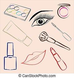 Set of decorative cosmetics, makeup