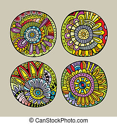 Set of decorative design elements - Set of decorative hand...