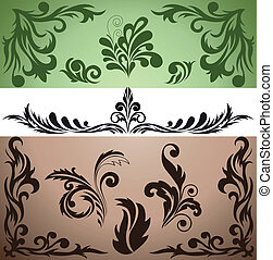 set of decorative elements - collection of beautiful vintage...