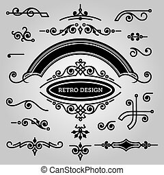 set of decorative elements in vintage style for design