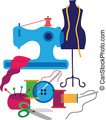 Set of decorative elements of the fashion designer of...