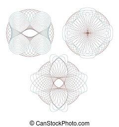 Set of decorative elements. Rosettes