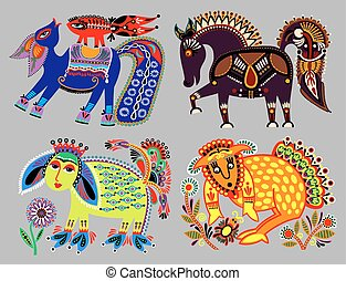 set of decorative ethnic folk animals in Ukrainian traditional