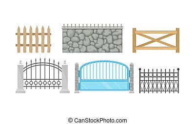 Set Of Decorative Fence With Different Design Vector Illustration
