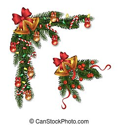 Set of decorative fir corner with Christmas bells vector illustration isolated.