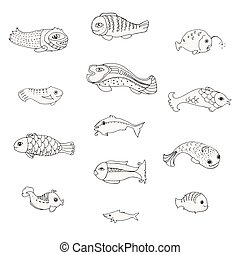Set of decorative fish, doodle sketch, Vector illustration, isolated on white