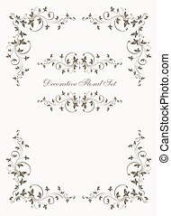 Set of decorative floral vector vintage frames.