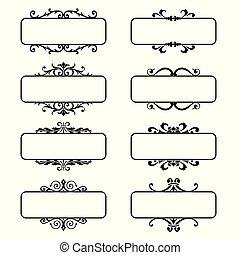 Set of decorative florish frames