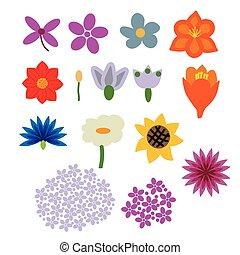 Set of decorative flowers