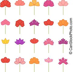 Set of decorative flowers, vector illustration
