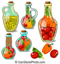 Set of decorative glass bottles with pickled ripe...