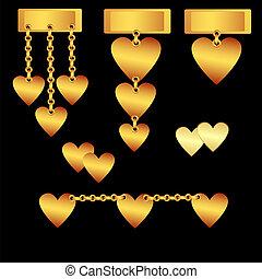 Set of decorative gold hearts
