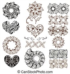 Set of decorative hearts, floral design elements, borders isolated on white background.